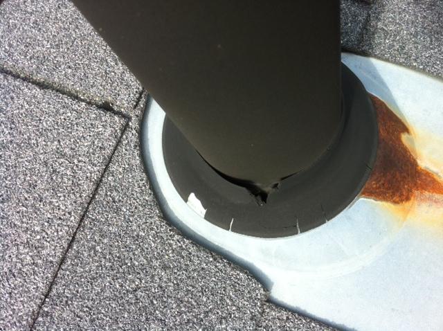 Damaged Plumbing Vent Grommet